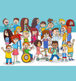 children and teens cartoon characters group vector image vector image