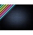 colorful neon luminous strips on grey realistic vector image vector image