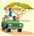 couple riding in the car with driver in the zoo vector image