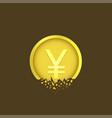 cracked yen coin vector image