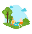 eldery people sunbathing on nature outdoor in vector image vector image
