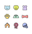 flat outline pets icon set for ui or web design vector image vector image
