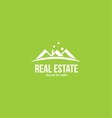 Flat real estate green house roof logo vector image vector image