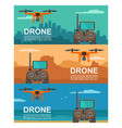 fly drone with remote control on background city vector image vector image