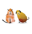 Funny cat and dog Watercolor sketch for your vector image vector image