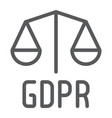 gdpr libra line icon privacy and security gdpr vector image vector image