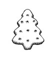 gingerbread sketch icon christmas tree ginger vector image vector image