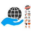 global care icon with valentine bonus vector image vector image