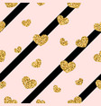gold heart seamless pattern black-pink geometric vector image vector image