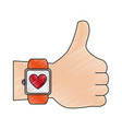 hand with smartwatch heartbeat pulse vector image vector image