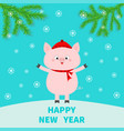 happy new year pig on snowdrift chinise symbol of vector image vector image