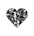 heart shape with hand drawn floral ornament vector image vector image