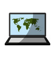 Laptop computer with world map on screen icon