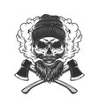lumberjack skull in smoke cloud vector image vector image