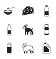 Milk set icons in black style Big collection of vector image vector image
