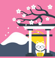 mount fuji japanese gate sakura lucky cat pink bac vector image
