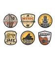 musical instruments icons for music record studio vector image vector image