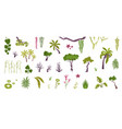 plants flat icons collection vector image vector image