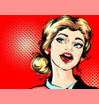 pop art retro surprised blond woman face with open vector image vector image