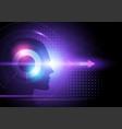 purple futiristic background with human head vector image