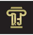 qt logo monogram with pillar style design vector image vector image