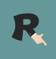 r letter businessman hand font it shows finger vector image vector image