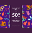 sale background with masks and party vector image vector image