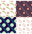 set of four seamless pattern with floral elements vector image vector image