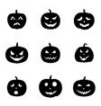 set of halloween pumpkins with different faces iso vector image