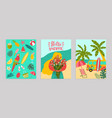 set poster hello summer concept banner pattern vector image vector image