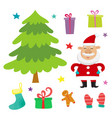 set with santa claus christmas tree and vector image vector image