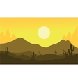Silhouette of desert and cactus vector image vector image