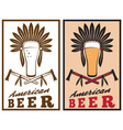 Vintage emblem of american beer with native vector image
