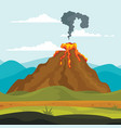 volcano eruption lava banner concept flat style vector image vector image