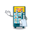 waiter bakery vending machine in a mascot vector image vector image