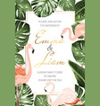 wedding marriage tropical event invitation card vector image vector image