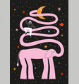 with pink elephant girl and stars vector image