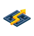 Yellow path with arrow across labyrinth icon vector image