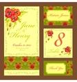 Poppy flower Wedding card set Vintage vector image