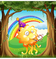 A happy monster at the forest vector image vector image