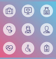 antibiotic icons line style set with disabled vector image vector image