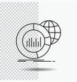 big chart data world infographic line icon on vector image