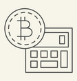 bitcoin calculator thin line icon accounting and vector image vector image