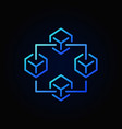 blockchain blue icon block chain vector image