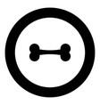 bone icon black color in circle vector image vector image