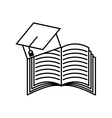 book and graduation hat icon vector image vector image