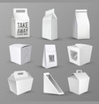 boxes collection for food and products set vector image vector image
