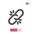 broken link icon vector image vector image