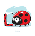 Cartoons Alphabet - Letter L with funny Ladybug vector image