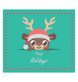 christmas greeting with cute reindeer peeking out vector image